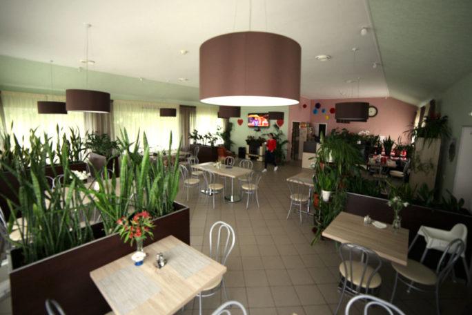 Вид зала кафе базы отдыха Розовая Дача