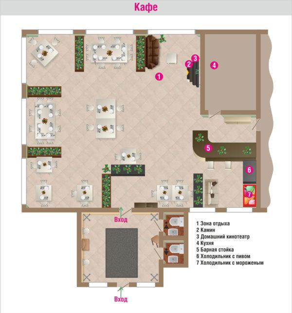 План помещений кафе базы отдыха Розовая дача