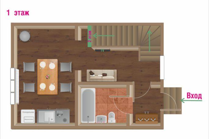 Первый этаж коттеджа. Кухня, гостиная, санузел.