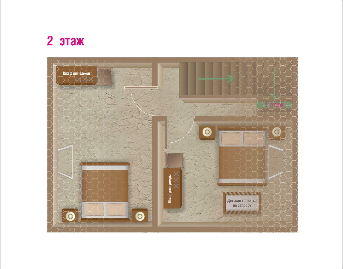 План второго этажа коттеджа комфорт для двух семей. База отдыха Розовая дача.