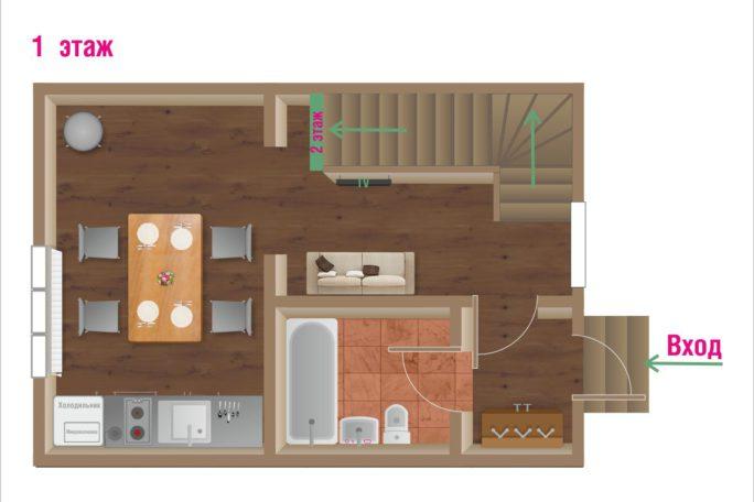 Первый этаж коттеджа Комфорт. Кухня, гостиная, ванная. База отдыха Розовая дача