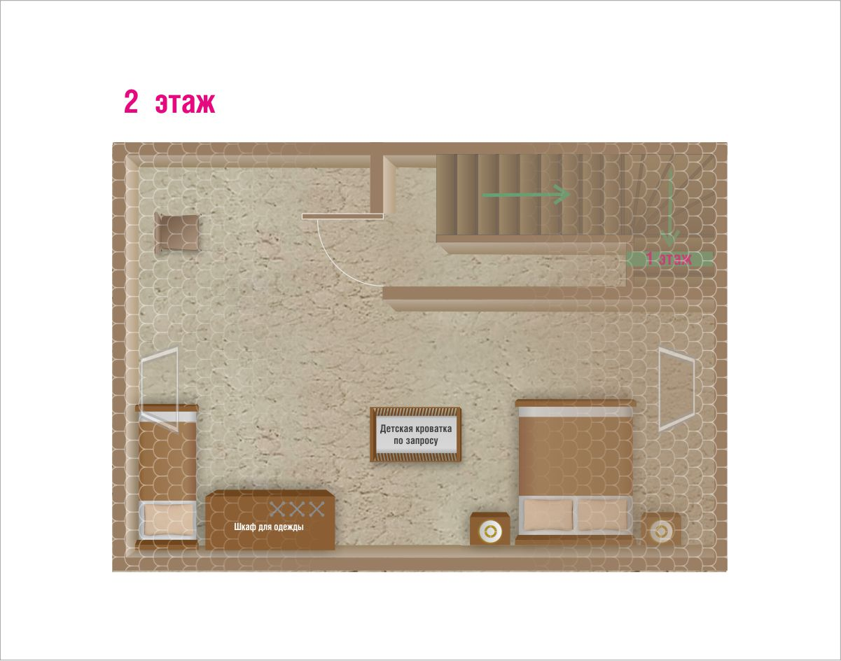План первого этажа. Спальня 30 м2. Двуспальная кровать, односпальная кровать. База отдыха Розовая дача