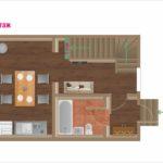 План первого этажа коттеджа для двух семей. База отдыха Розовая дача