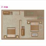 Схема второго этажа. 2 спальни. Коттедж для двух семей. База отдыха Розовая дача