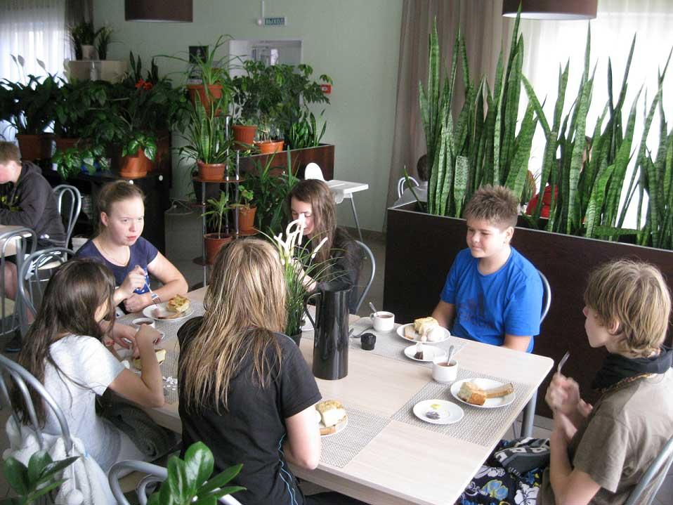 Завтрак в кафе. База отдыха Розовая дача